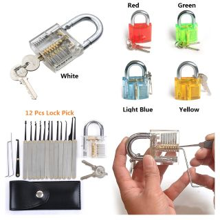 12-Piece Unlocking Lock Pick Set Key Extractor Tool With Transparent Practice Padlocks
