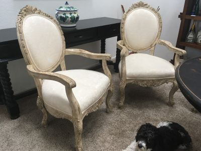French Dining Arm Chairs, White Crackle Finish