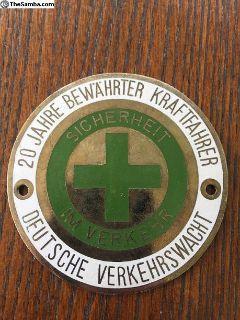 20 Year Safe Driver Badge Emblem German Vintage