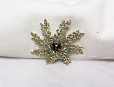 Vintage Signed Sarah Coventry Flower Yellow Gem Brown Silver Tone Brooch Pin