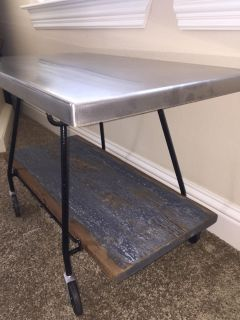 Mid century iron TV table with brushed metal top and reclaimed wood tier
