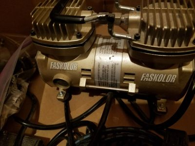 Faskolor By Parma Airbrush Compressor with 2 single action Airbrushes