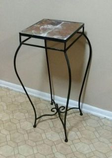 STONE TOP/WROUGHT IRON TABLE......EXCELLENT CONDITION
