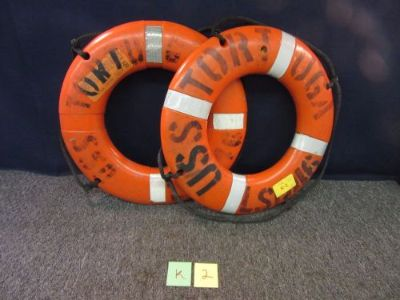 """Buy 2 SHIP BOAT BUOY I024 USS TORTUGA MILITARY STERNS FLOAT LIFE RING OD 24"""" USED motorcycle in Westerville, Ohio, United States, for US $90.25"""