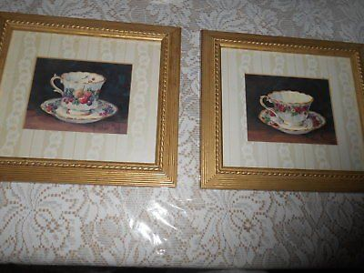 2) SIGNED BARBARA MOCK TEA CUP PRINTS! FRAMED AND DOUBLE MATTED!