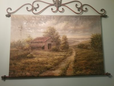 Large hanging oil painting