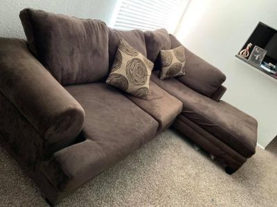 L shape couch (brown)