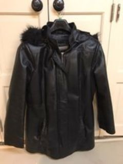 womens leather coat with fur lined hood and interior removable lining