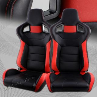 Purchase Black / Red Stripe PVC Leather Racing Sport Reclining Seats +Sliders Universal 2 motorcycle in Walnut, California, United States