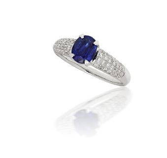 Oval Sapphire and Micropave Diamond Ring in 18k White Gold (1.55ct center)