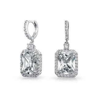 ***REDUCED***BRAND NEW***Pave Cubic Zirconia Emerald Cut Drop Huggie Dangle Earrings***