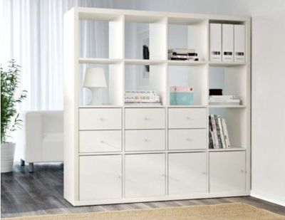 IKEA kallax shelving unit with doors and drawers