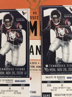 Monday night game with parking pass 11/26