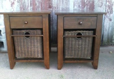Pair of wood end tables w/wickerbaskets, sides of the table are wicker, chalk painted!
