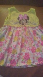 Disney Soft knit dress with Minnie Mouse on it. Size 12 months VGUC Back shown in comments says TOO cute!
