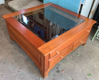 Glass Topped Cherry Wood Coffee Table