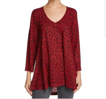 Nally & Millie Womens Red Printed Long Sleeves V Neck Tunic M