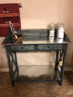 Brand New With Tag Rustic Wood and Metal Table With Drawers. Perfect Condition. Read below!