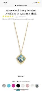 New Kendra Scott Kacey Pendant Necklace in Abalone Shell