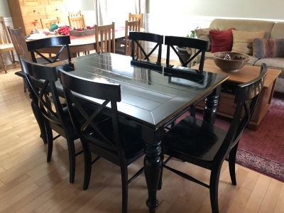 Black Dining Table with 8 Chairs