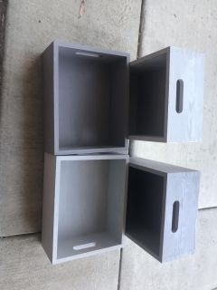 4 wooden Storage boxes used as shelves