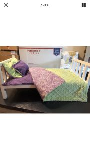 """Handmade Wooden Doll Bed for American Girl Doll or any 18"""" Doll Plus Mattress,Quilt & Pillows"""