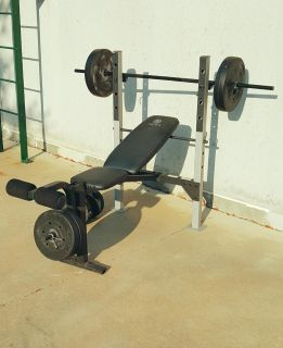 Gold's Gym Weight Bench with 100lb Weight Set