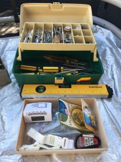 Tool Box with Tools and Hardware