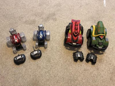 Two pair remote control monster trucks