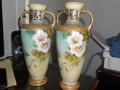 Antique EE Nippon Hand Painted Porcelain Vase Cherry Blossoms