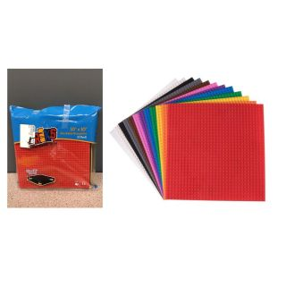 """Strictly Briks Brick Construction Stackable Baseplates - 12 Baseplates Included (10"""" x 10"""", 32 x 32 pegs) 12 Rainbow Colors"""