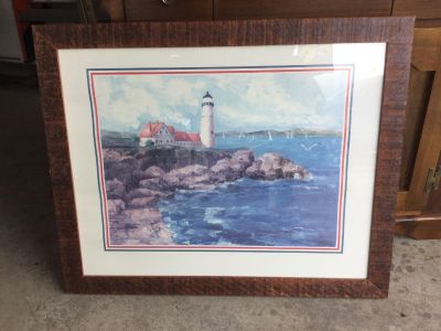 Lighthouse Picture in Wood Frame