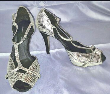 """Charlotte Russe"" Silver Textured Simulated Leather Peeptoe Sandals"