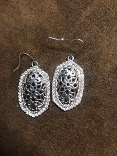 Small silver earrings with rhinestones, Kendra look-a-likes