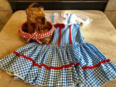 Iconic Wizard of Oz Deluxe DOROTHY Costume with Toto in Basket