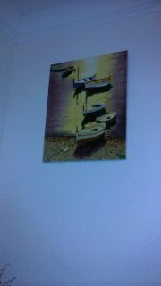 11 x 14 Hand Painted glazed ceramic painting of small boats