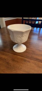 1930s White Milk Glass Stemmed Compote-Perfect Farmhouse Look & For Plants