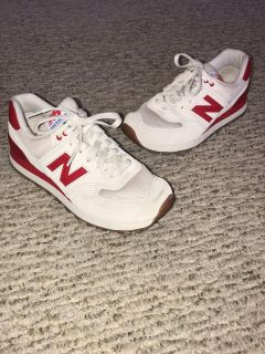 Women s Red White Gum Bottom New Balance Tennis Shoes Sneakers Sz. 6.5