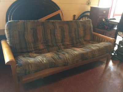 Solid Wood Futon With Thick Mattress