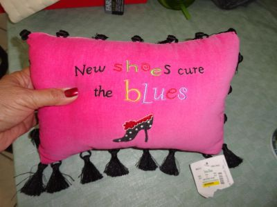 ''NEW SHOES CURE THE BLUES'' PINK EMBROIDERED PILLOW WITH TASSELS