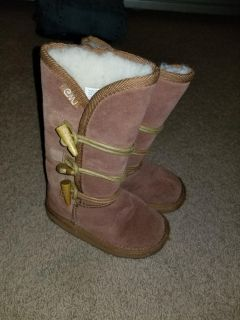 Emu leather tall brown kids boots