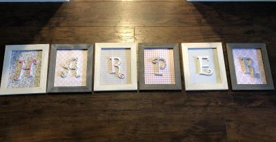 Gray and white hanging frames