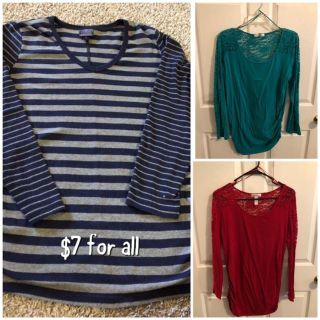 3 super cute Maternity Tops size Large