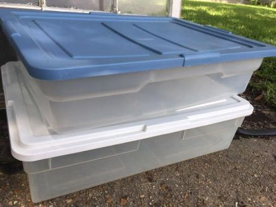 Set of two clean under the bed storage containers , flash