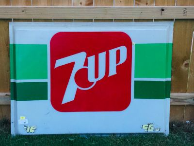 IN SP HILL Large Vintage Auto Sign 37 X 49 7-Up Advertisement *REASONABLE OFFERS CONSIDERED*