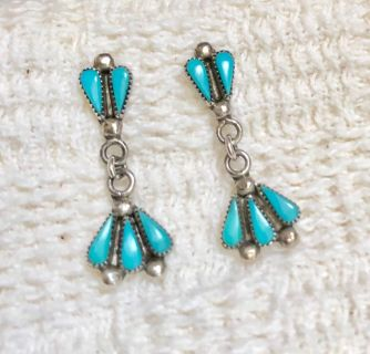 Zuni Petit Point Turquoise and Sterling Silver Drop Earrings - Pierced Post Back