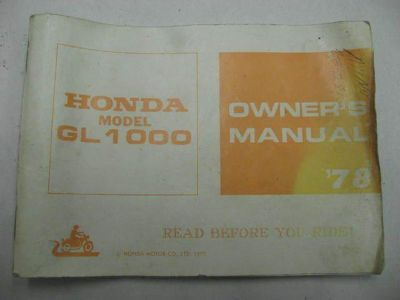 Purchase 78 Honda GL1000 GL 1000 Goldwing Owners Manual motorcycle in Cumberland, Maryland, US, for US $20.00