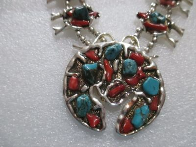 STERLING SILVER TURQUOISE & CORAL SQWASH BLOSSOM NECKLACE
