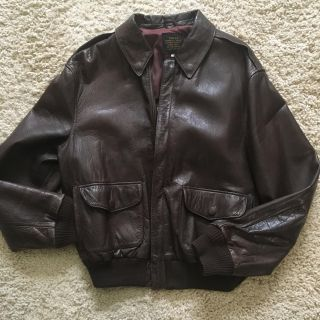 Avirex A-2 US Army Air Forces Chocolate Brown Leather Flight Bomber Size 44 fits like 40R
