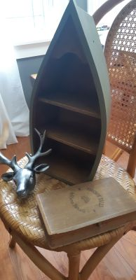 Canoe Shelf, Deer Head, Book/box